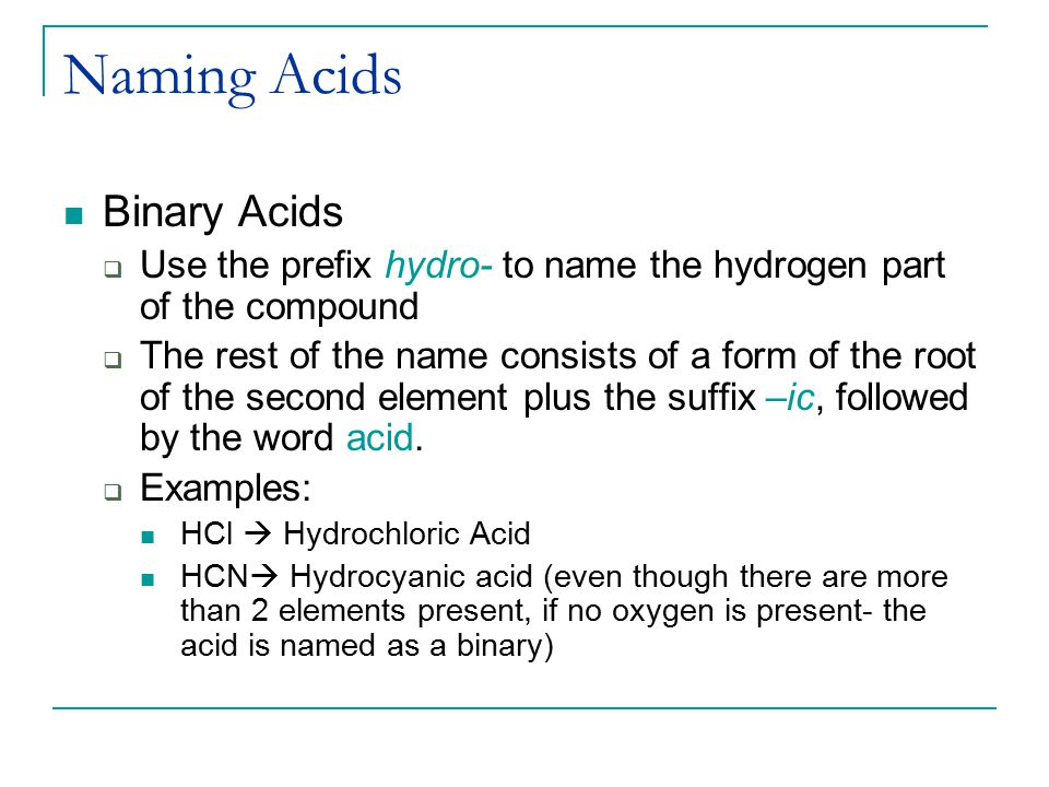 Naming Acids Binary Acids