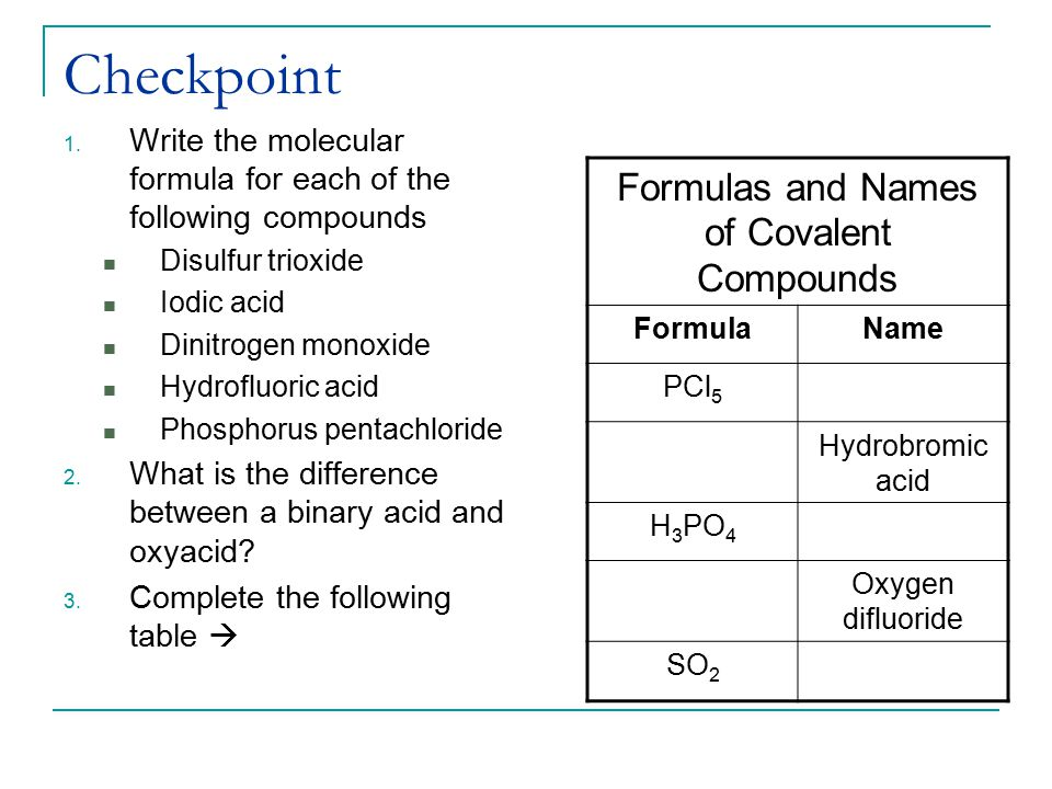 Formulas and Names of Covalent Compounds