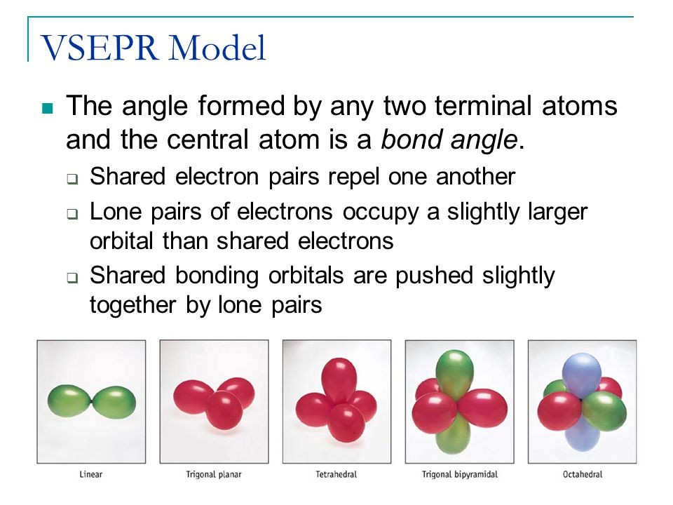 VSEPR Model The angle formed by any two terminal atoms and the central atom is a bond angle. Shared electron pairs repel one another.