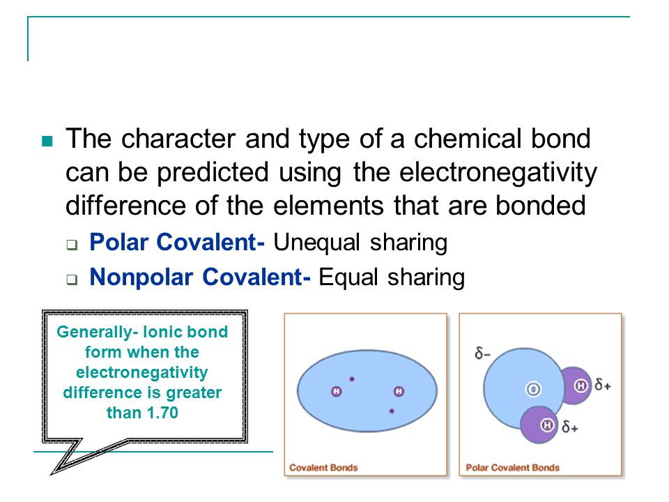 The character and type of a chemical bond can be predicted using the electronegativity difference of the elements that are bonded