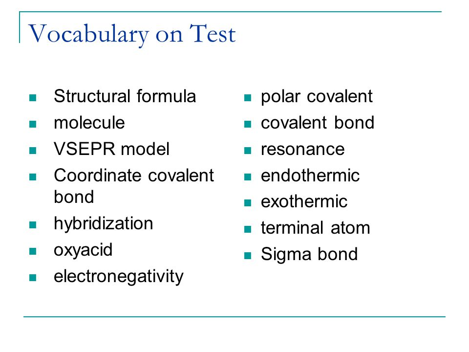 Vocabulary on Test Structural formula molecule VSEPR model