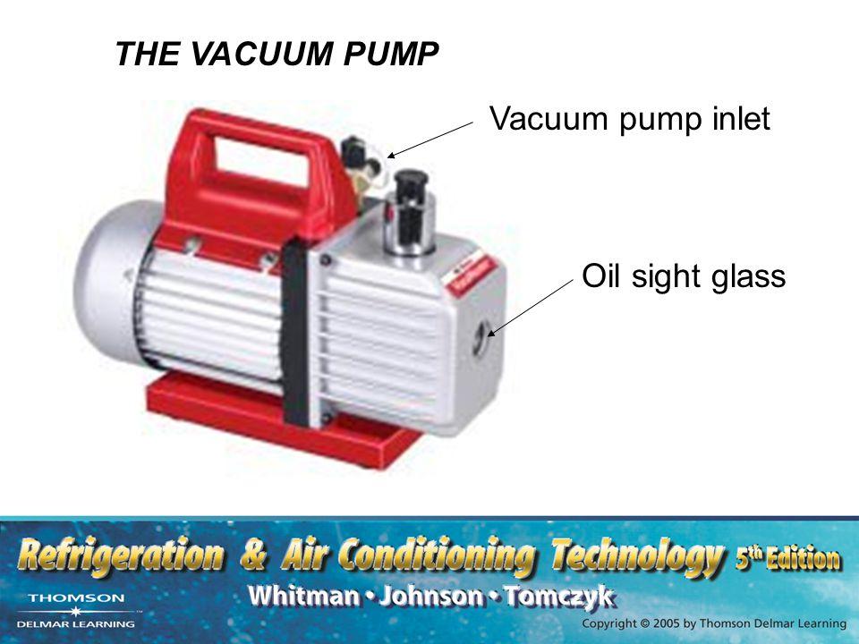 THE VACUUM PUMP Vacuum pump inlet Oil sight glass