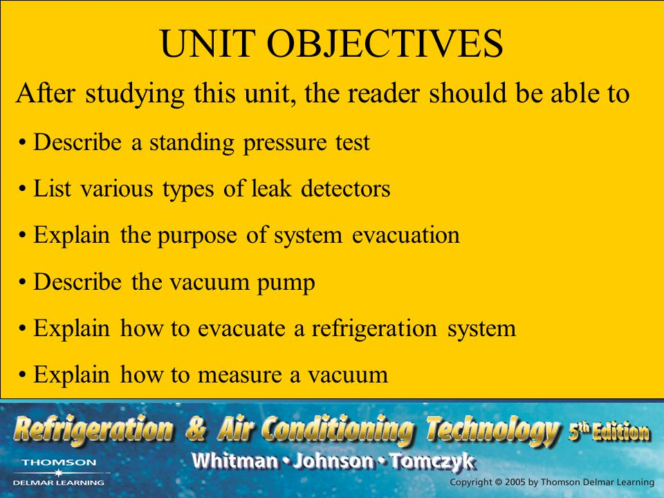 UNIT OBJECTIVES Describe a standing pressure test