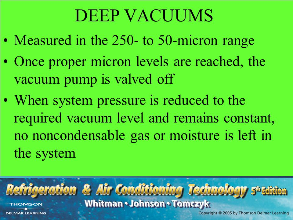 DEEP VACUUMS Measured in the 250- to 50-micron range
