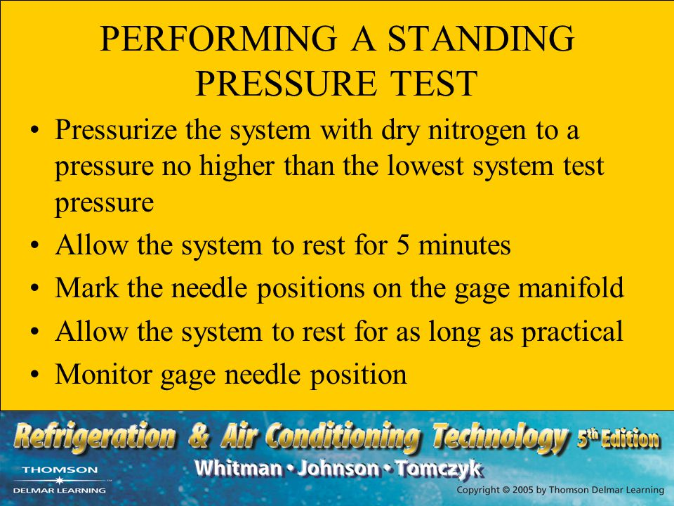 PERFORMING A STANDING PRESSURE TEST