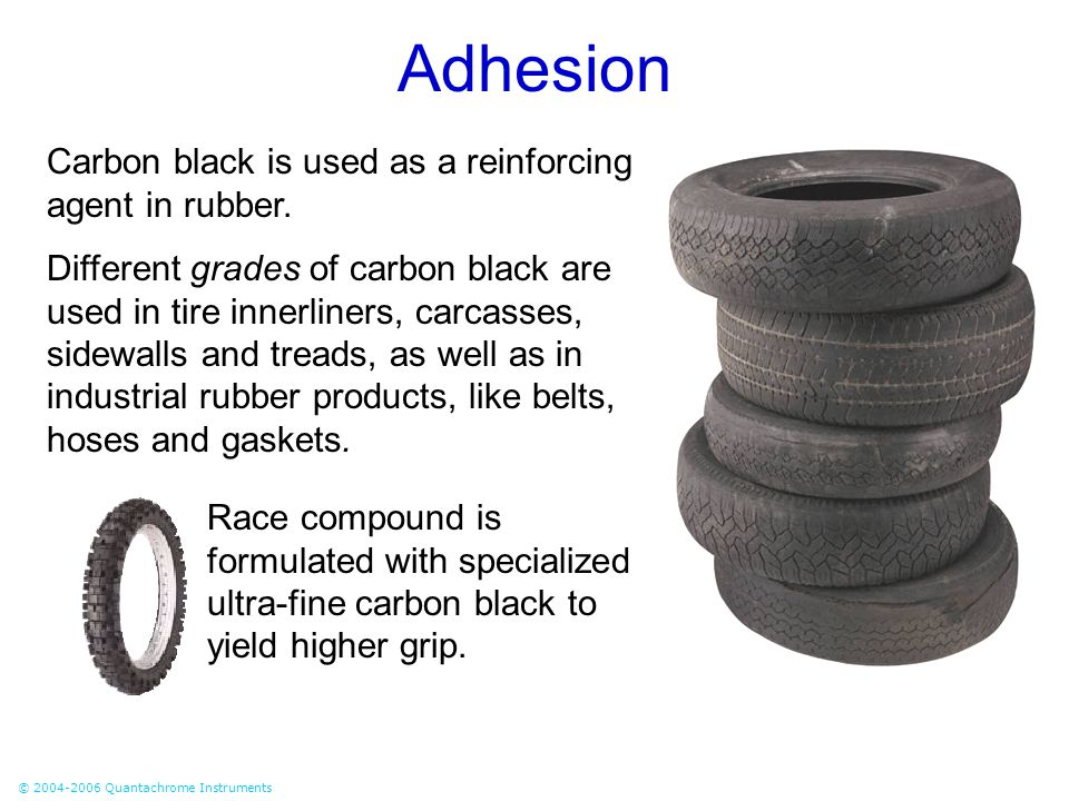 Adhesion Carbon black is used as a reinforcing agent in rubber.