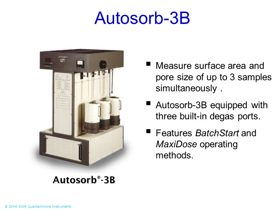 Autosorb-3B Measure surface area and pore size of up to 3 samples simultaneously . Autosorb-3B equipped with three built-in degas ports.