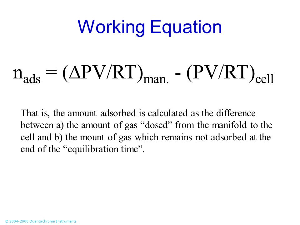 nads = (PV/RT)man. - (PV/RT)cell