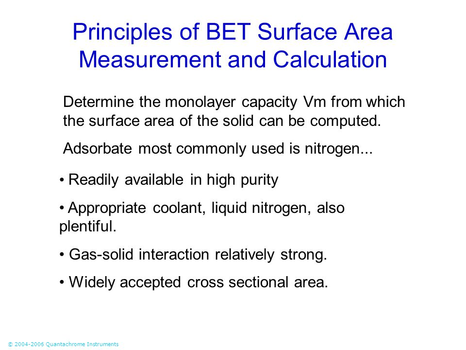 Principles of BET Surface Area Measurement and Calculation