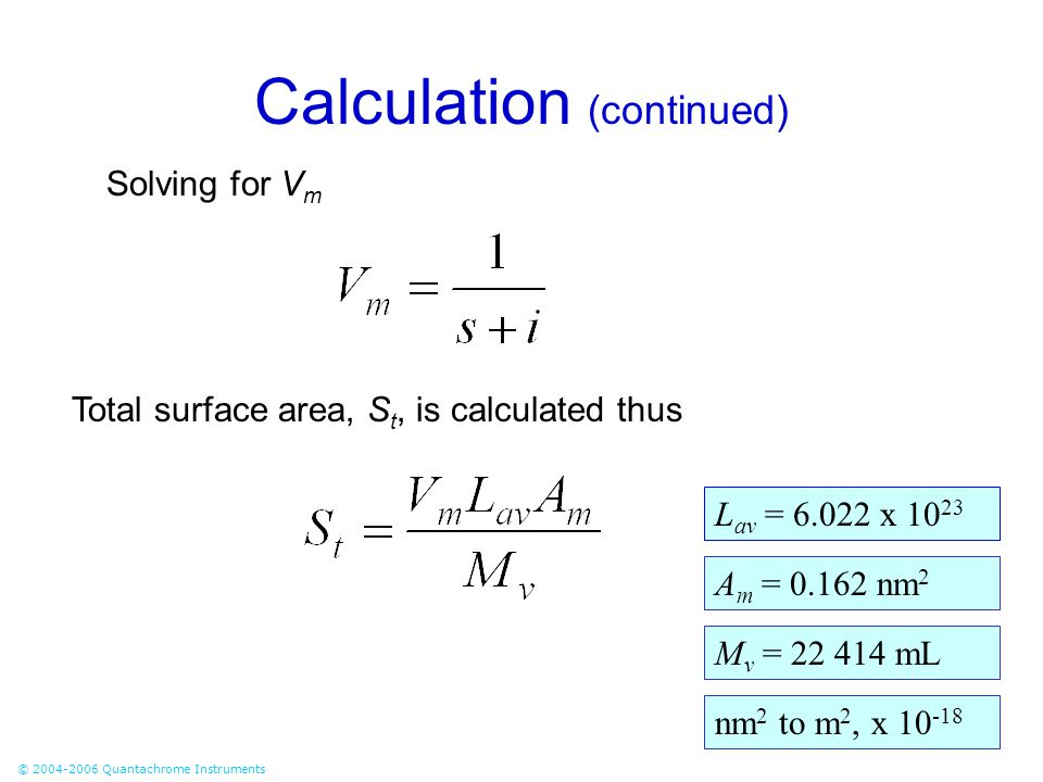 Calculation (continued)