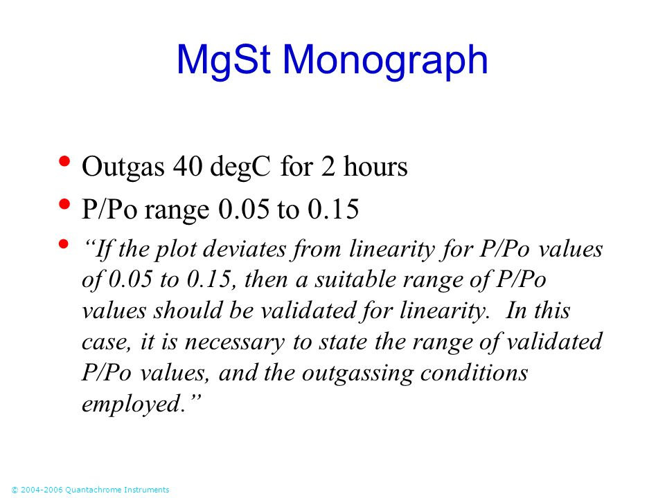 MgSt Monograph Outgas 40 degC for 2 hours P/Po range 0.05 to 0.15