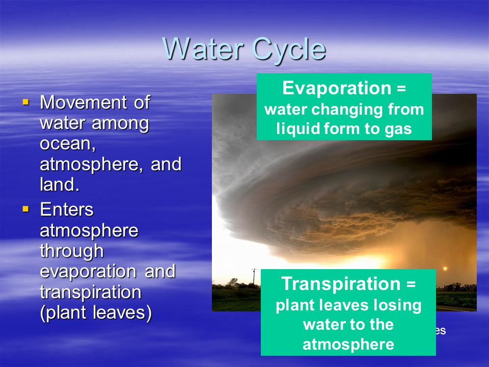 Water Cycle Evaporation = water changing from liquid form to gas