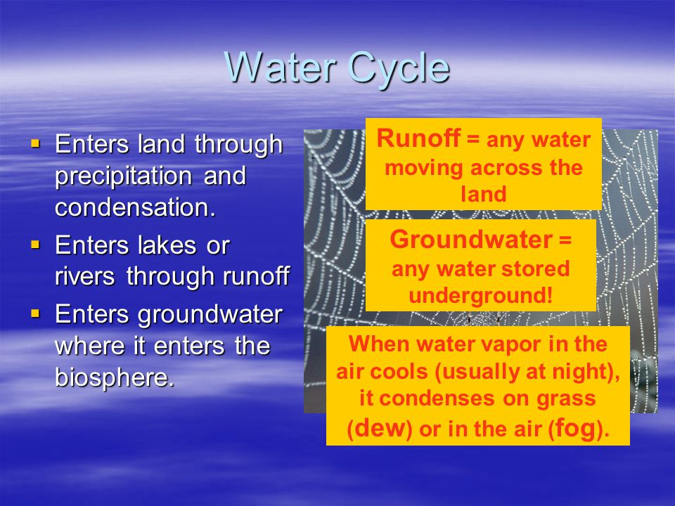 Water Cycle Runoff = any water moving across the land
