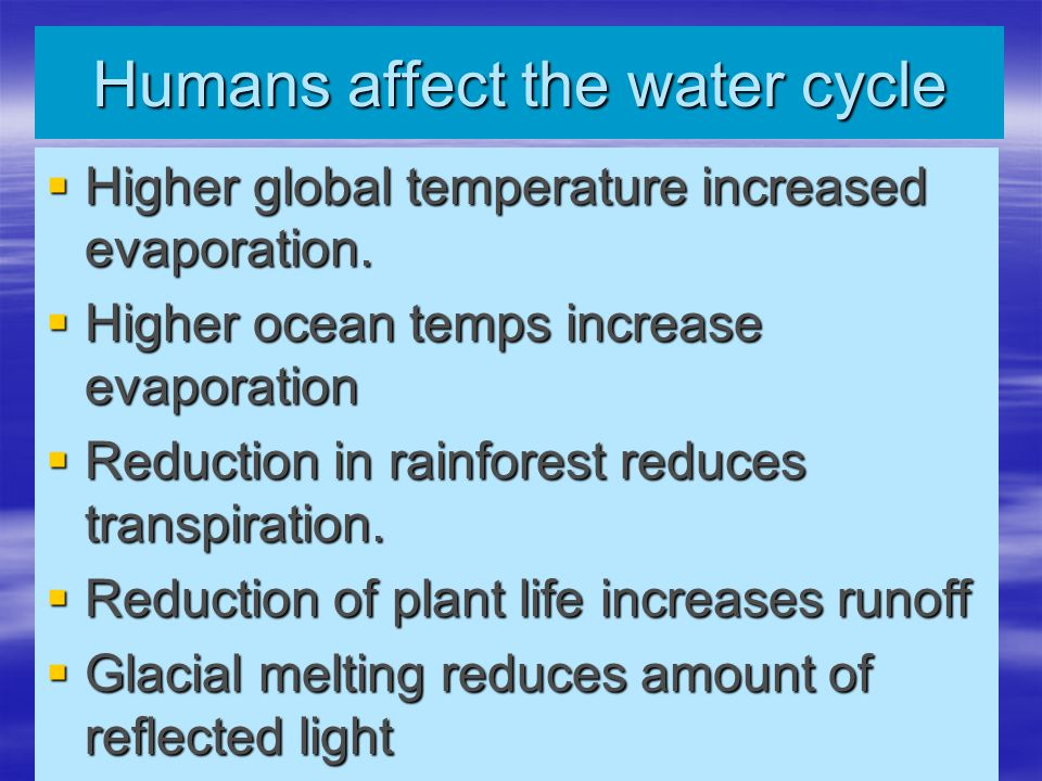 Humans affect the water cycle