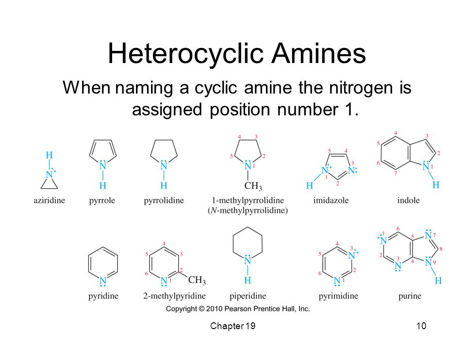 When naming a cyclic amine the nitrogen is assigned position number 1.