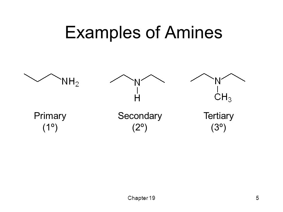 Examples of Amines Primary (1º) Secondary (2º) Tertiary (3º)