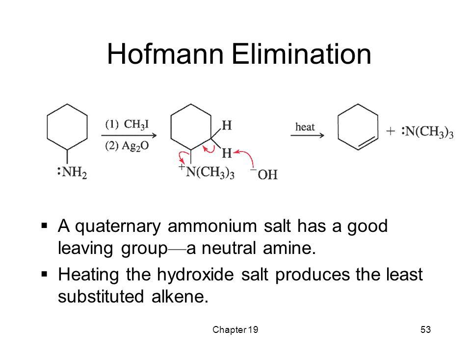 Hofmann Elimination A quaternary ammonium salt has a good leaving group—a neutral amine.