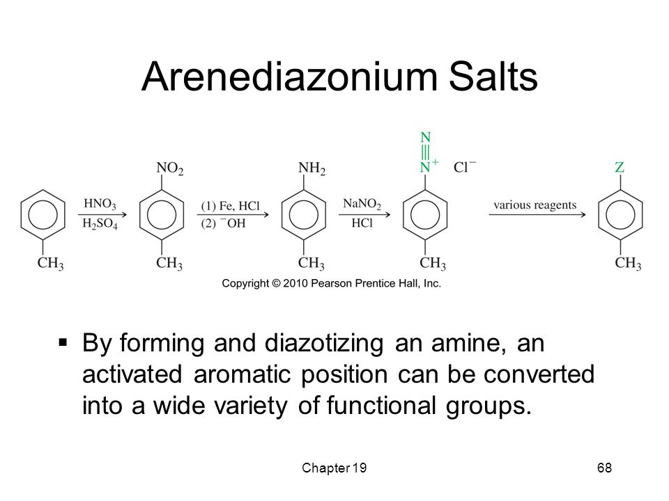 Arenediazonium Salts By forming and diazotizing an amine, an activated aromatic position can be converted into a wide variety of functional groups.