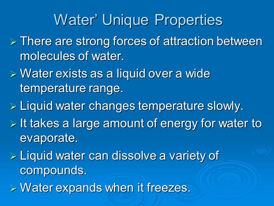 Water' Unique Properties