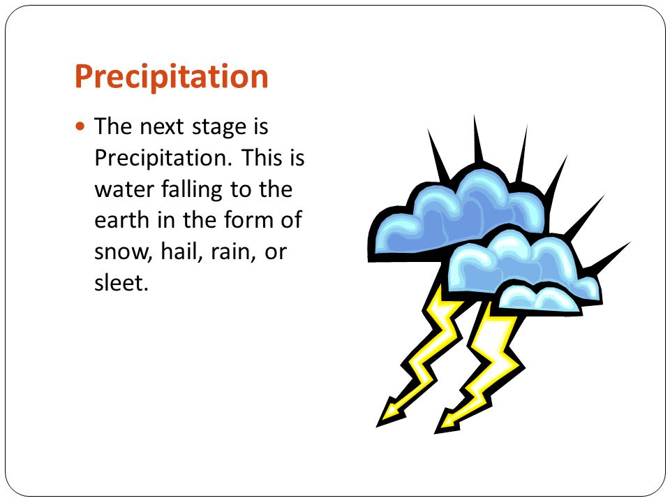 Precipitation The next stage is Precipitation.