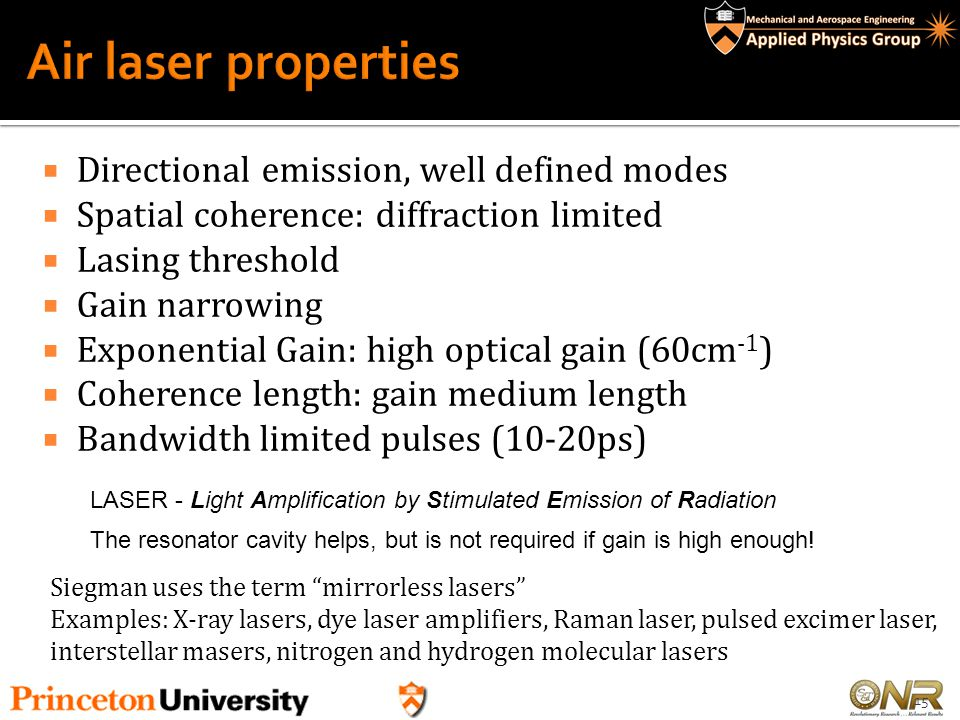 Air laser properties Directional emission, well defined modes