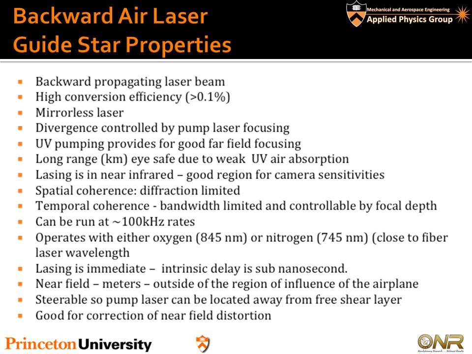 Backward Air Laser Guide Star Properties