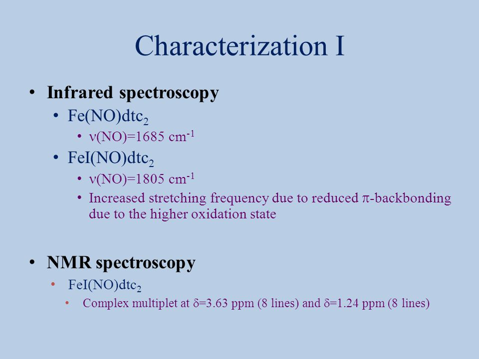 Characterization I Infrared spectroscopy NMR spectroscopy Fe(NO)dtc2