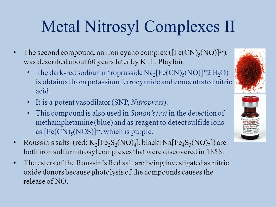 Metal Nitrosyl Complexes II