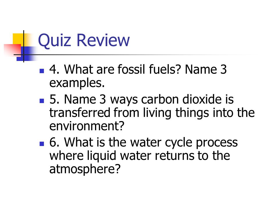 Quiz Review 4. What are fossil fuels Name 3 examples.