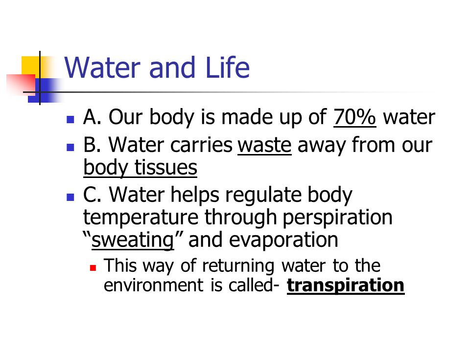 Water and Life A. Our body is made up of 70% water