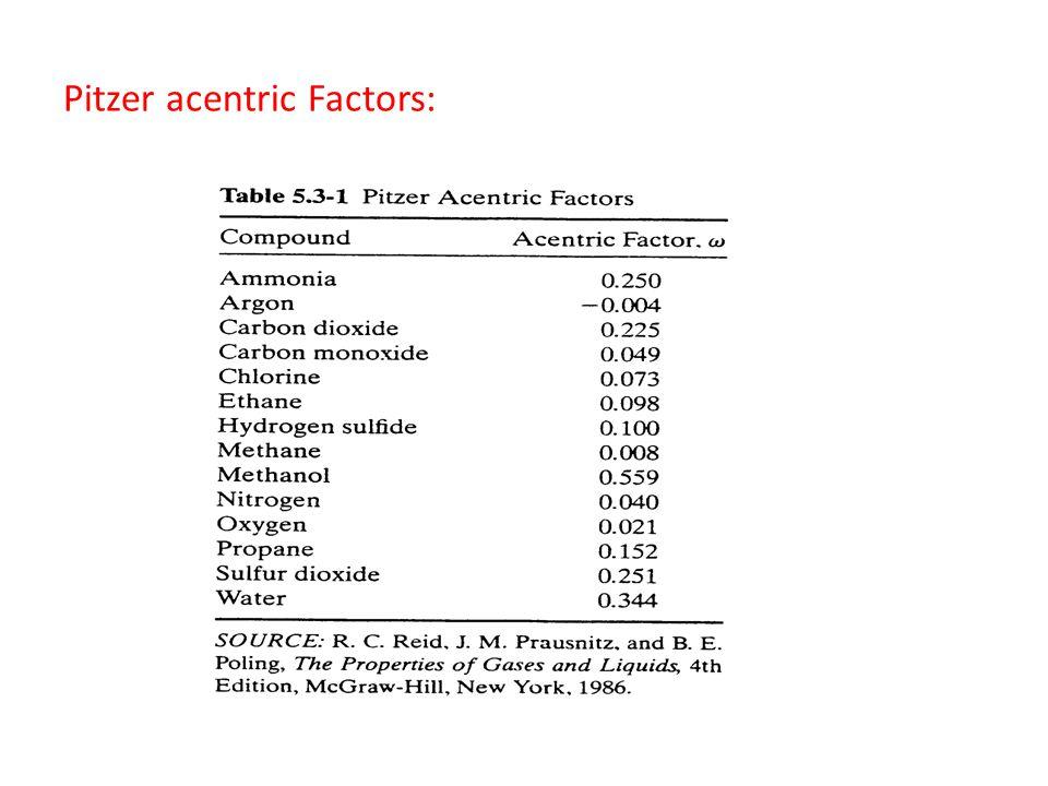 Pitzer acentric Factors: