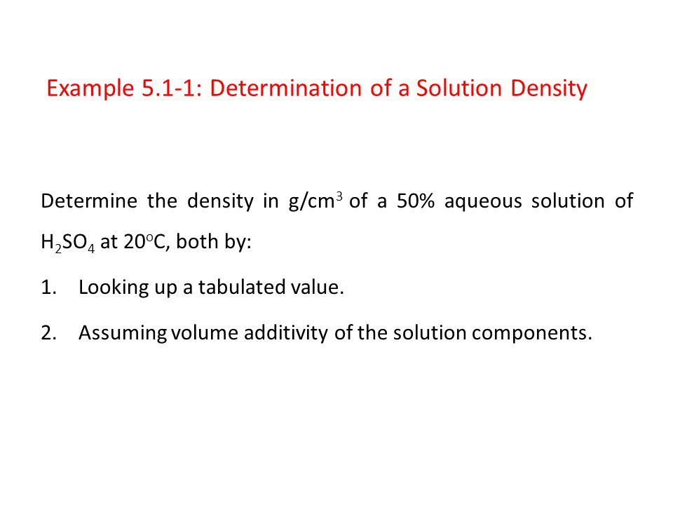 Example 5.1-1: Determination of a Solution Density