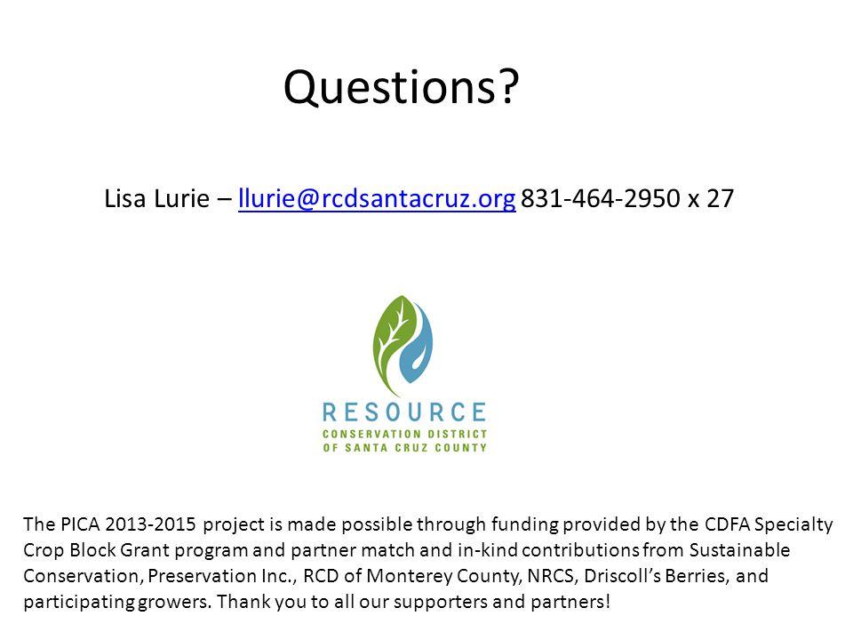 Lisa Lurie – llurie@rcdsantacruz.org 831-464-2950 x 27