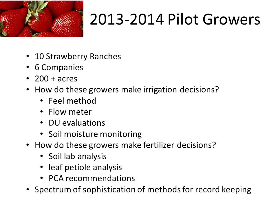 2013-2014 Pilot Growers 10 Strawberry Ranches 6 Companies 200 + acres