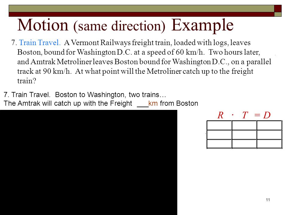 Motion (same direction) Example