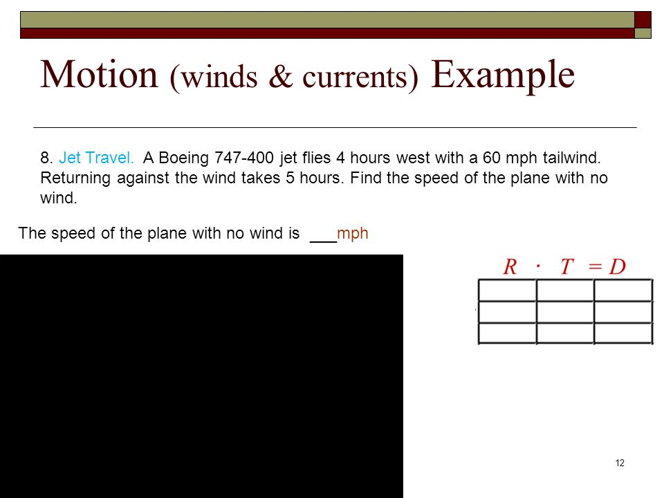 Motion (winds & currents) Example