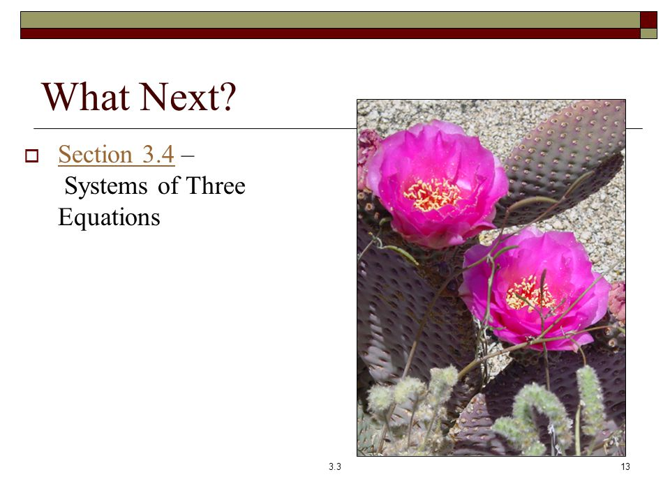 What Next Section 3.4 – Systems of Three Equations 3.3