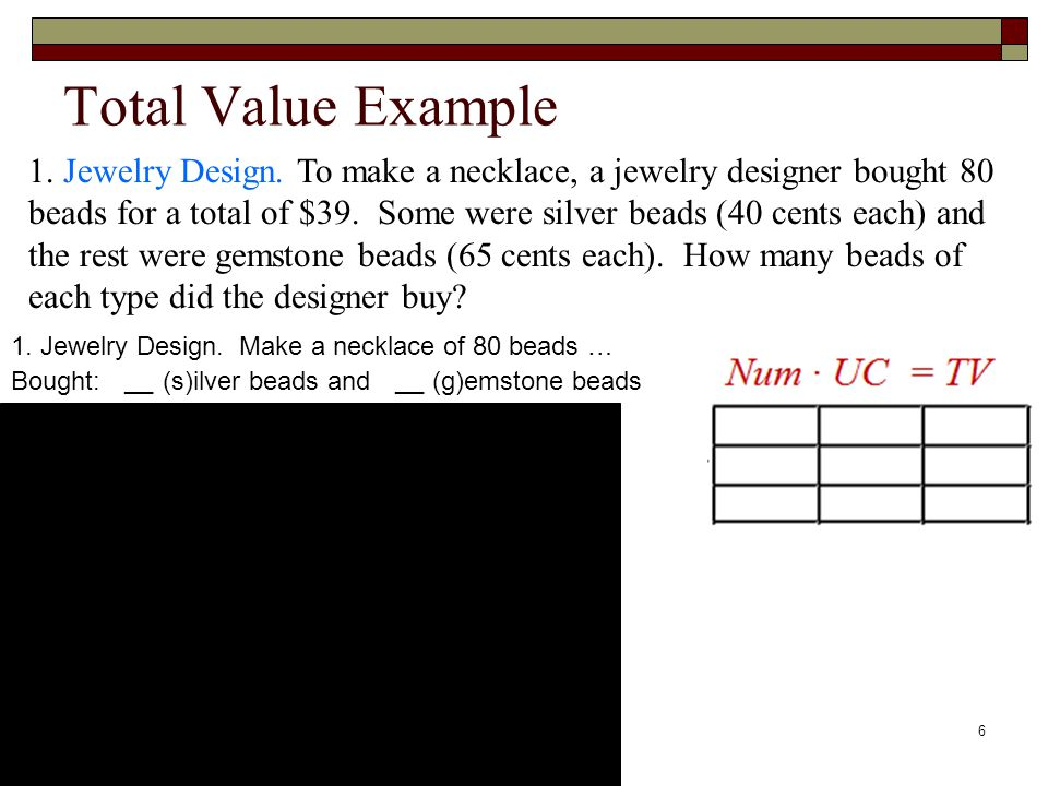 Total Value Example