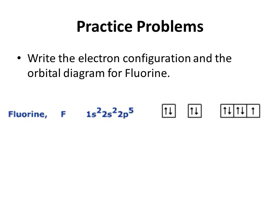Practice Problems Write the electron configuration and the orbital diagram for Fluorine.