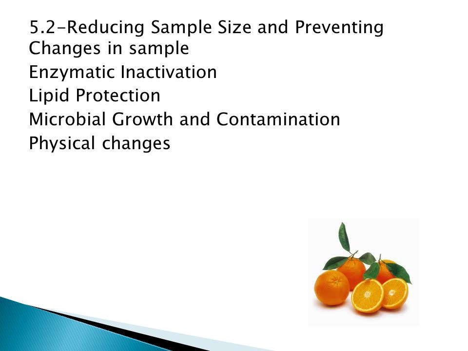 5.2-Reducing Sample Size and Preventing Changes in sample Enzymatic Inactivation Lipid Protection Microbial Growth and Contamination Physical changes