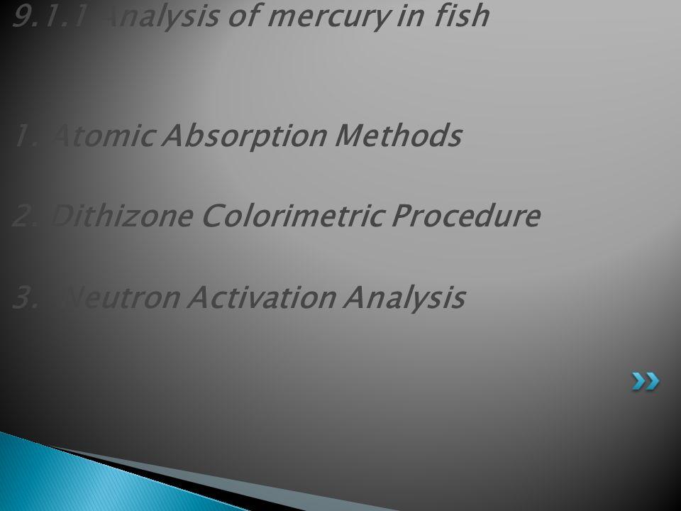 9.1.1 Analysis of mercury in fish