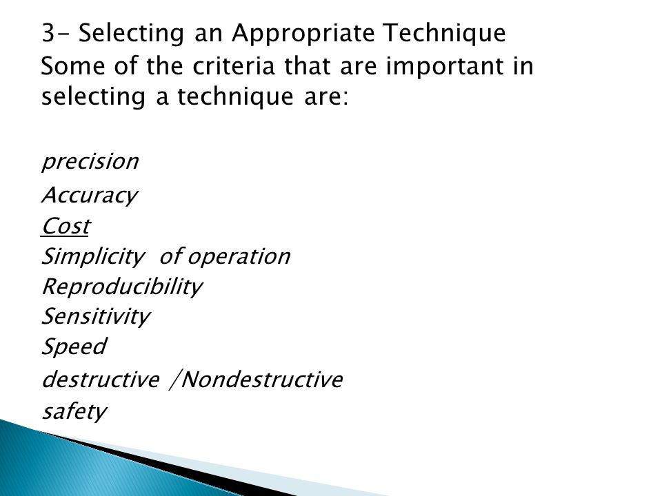 3- Selecting an Appropriate Technique