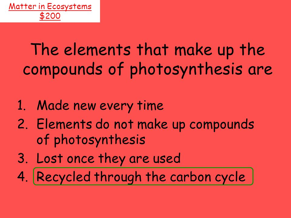 The elements that make up the compounds of photosynthesis are