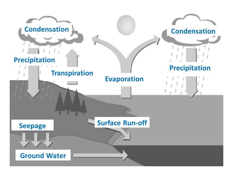 Condensation Condensation. Precipitation. Precipitation. Transpiration. Evaporation. Surface Run-off.