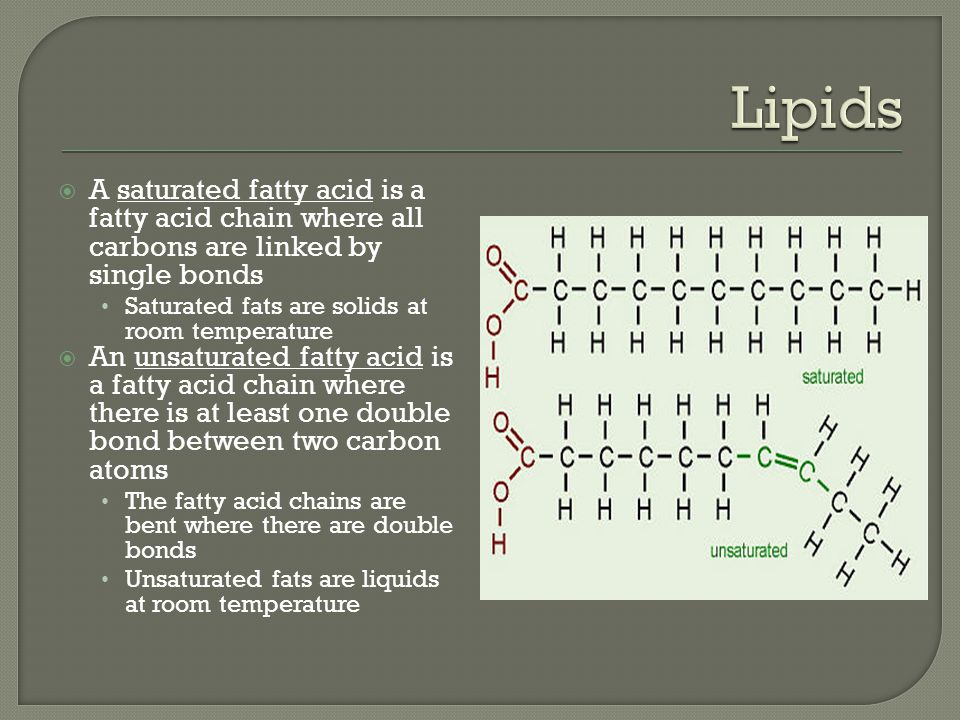 Lipids A saturated fatty acid is a fatty acid chain where all carbons are linked by single bonds. Saturated fats are solids at room temperature.