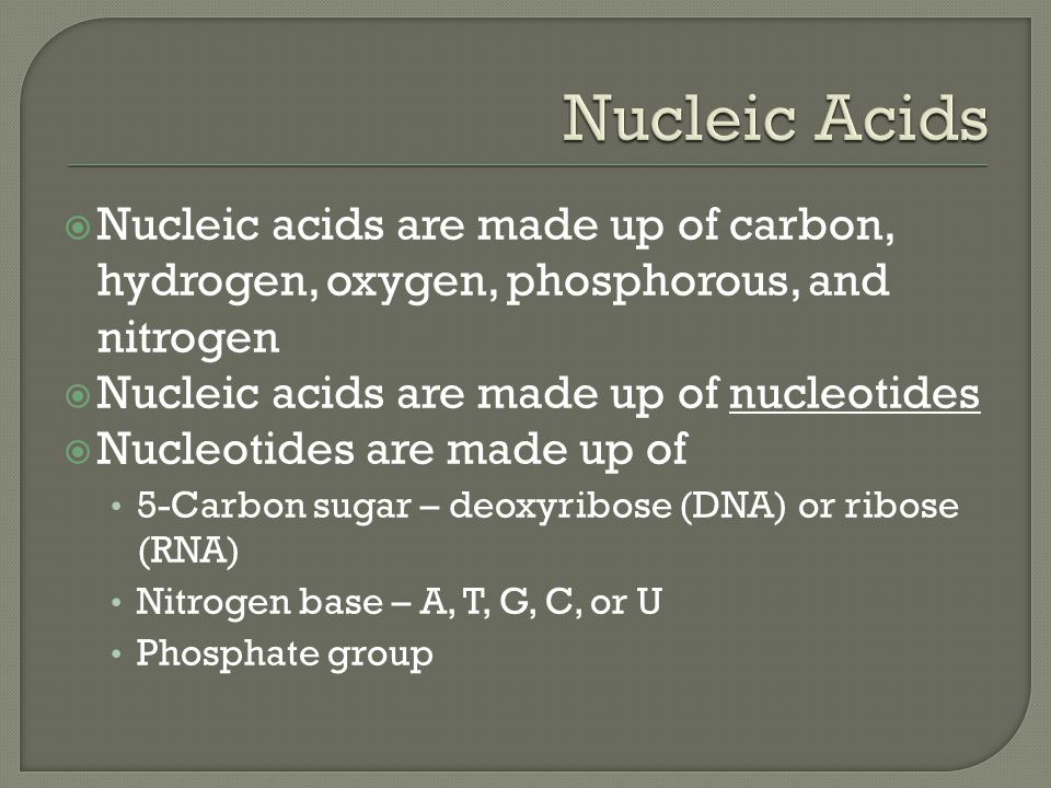Nucleic Acids Nucleic acids are made up of carbon, hydrogen, oxygen, phosphorous, and nitrogen. Nucleic acids are made up of nucleotides.