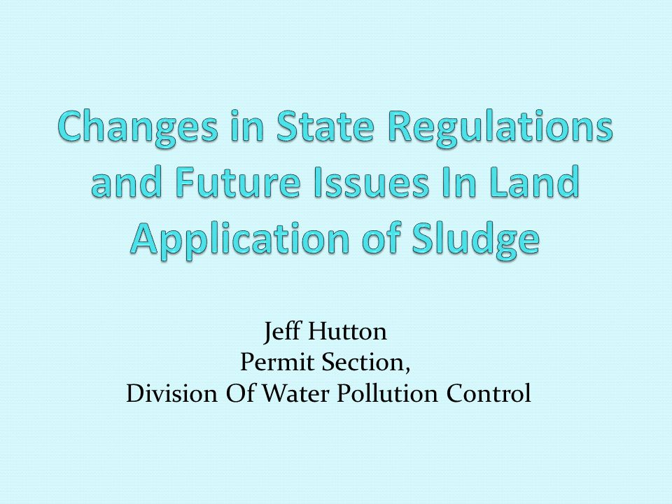 Jeff Hutton Permit Section, Division Of Water Pollution Control