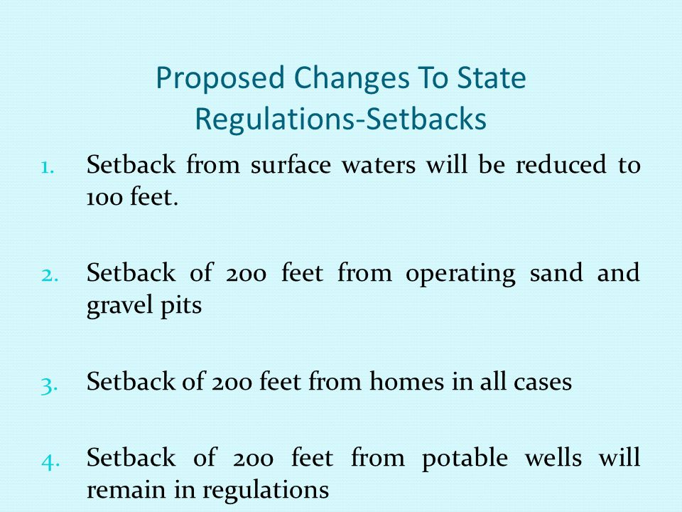 Proposed Changes To State Regulations-Setbacks