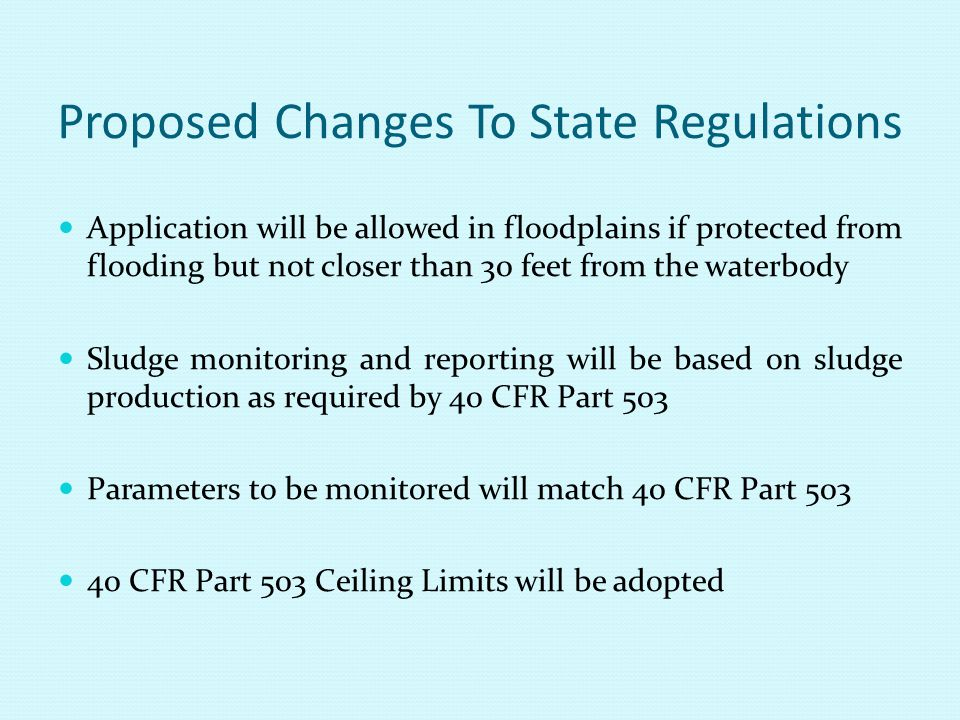 Proposed Changes To State Regulations