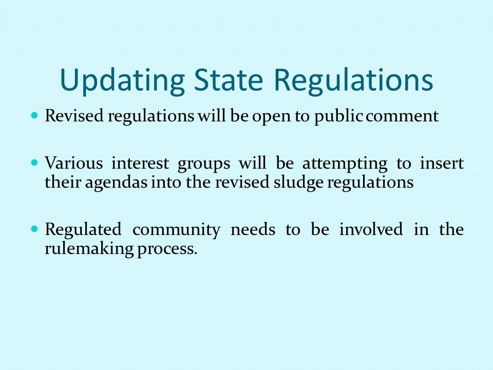 Updating State Regulations